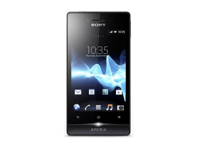 obsah balení Sony Xperia miro černá + Sony multimediální kolébka LiveDock DK10