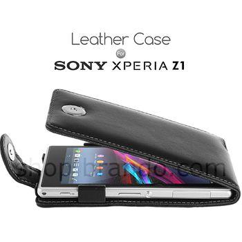 Pouzdro kožené Brando Flip Top - SONY Xperia Z1, černá