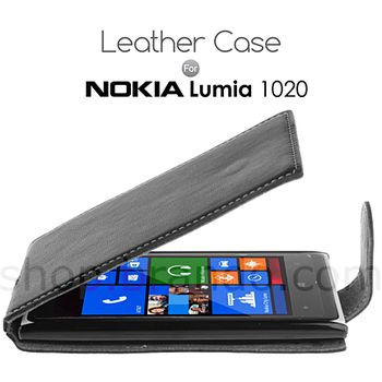 Brando kožené pouzdro Flip Top pro Nokia Lumia 1020, černá