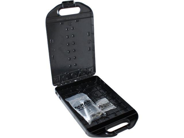 """obsah balení RAM Mounts multifunkční kufřík Handi-case s dlouhým ramenem a objímkou na tyč pro průměr 12,7-25,4 mm, s 1,5"""" čepem, sestava RAM-231-HC1-DU"""