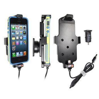 Brodit držák do auta na Apple iPhone 5/5S/SE v pouzdru, s nab. z cig. zapalovače/USB, s pružinou