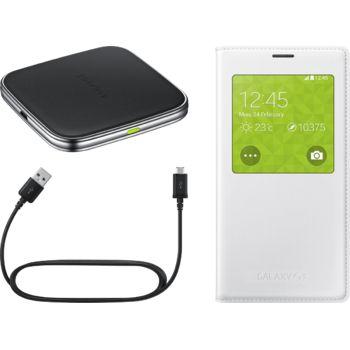 Samsung sada pro bezdrátové nabíjení (pouzdro + podložka + nabíjecí kabel) EP-KG900IW, bílá