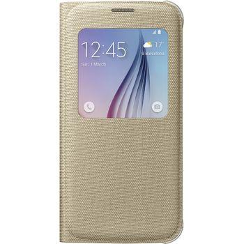 Samsung flipové pouzdro S-View EF-CG920BF pro Galaxy S6, textilní, zlatá