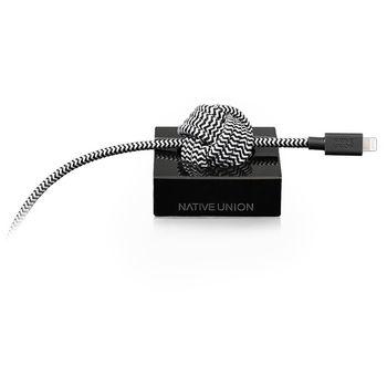 Native Union Night Lightning kabel s mramorovým držákem, 300cm, černý mramor