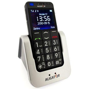 Aligator A800 Senior, černá + stolní nabíječka - mobilní telefon pro seniory