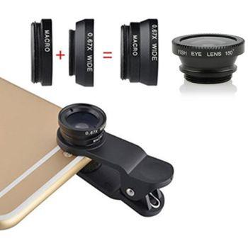 Univerzální sada objektivů pro mobilní telefony, rybí oko, makro, širokoúhlý objektiv