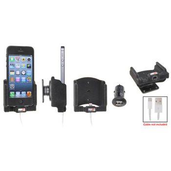 Brodit držák do auta na iPhone 5/5S  bez pouzdra, s nabíjením z cig. zapalovače/USB, samet-rozbaleno