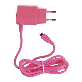 CELLY cestovní nabíječka s konektorem microUSB, 1A, růžová