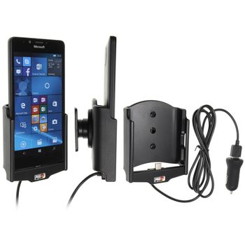 Brodit držák do auta na Microsoft Lumia 950 bez pouzdra, s nabíjením z cig. zapalovače/USB