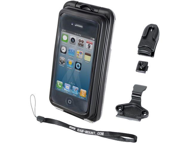 obsah balení RAM Mounts vodotěsný držák na menší mobil na motorku nebo skútr se silným samolepícím úchytem, AQUABOX® Pro 10, sestava RAP-B-378-AQ7-1CU